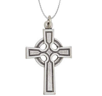 FINE JEWELRY Sterling Silver Rhodium Oxidized Antique Textured Circle Cross 18 Pendant Necklace