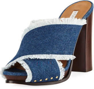 Veronica Beard Holt Frayed Denim Block-Heel Sandal