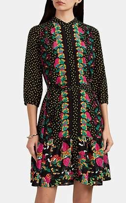 Saloni Women's Tyra Dot- & Floral-Pattern Silk Dress