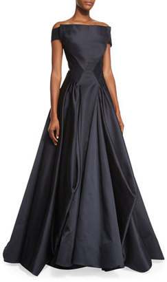 Zac Posen Off-the-Shoulder Pleated Ball Gown, Black $11,990 thestylecure.com