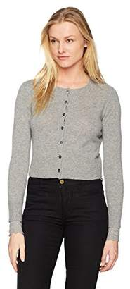 Minnie Rose Women's 100% Cashmere Lace Cuff Cardigan
