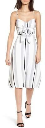 Lush Stripe Tie Front Midi Dress