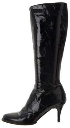 Duro Olowu Patent Leather Knee-High Boots Navy Patent Leather Knee-High Boots