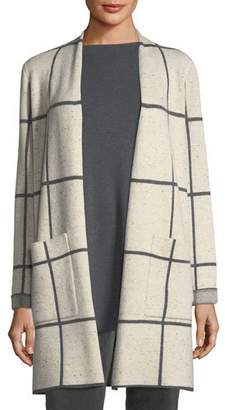 Eileen Fisher Peppered Windowpane Wool-Blend Simple Long Jacket