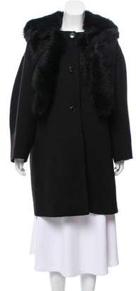 Giorgio Armani Fur-Trimmed Knee-Length Coat