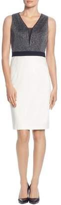 T Tahari Sleeveless Color-Block Sheath Dress
