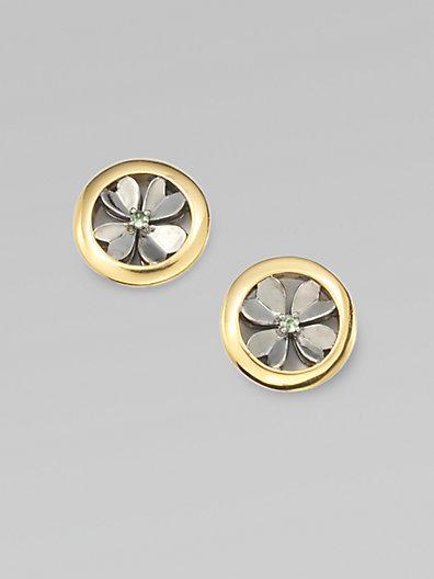 Elizabeth and James Tsavorite Garnet-Accented Clover Earrings