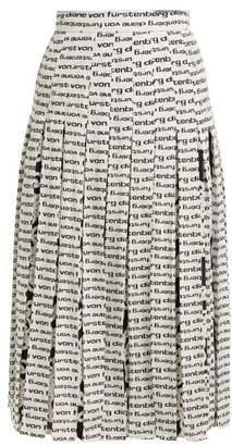 Diane von Furstenberg Gardena Logo Print Pleated Silk Skirt - Womens - Black White