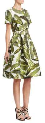 Oscar de la Renta Banana Leaf Knee-Length Dress