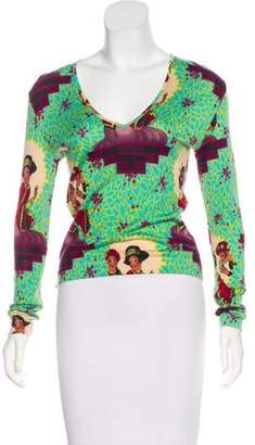 Christian Dior Printed Wool-Blend Top