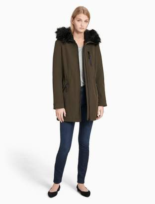Calvin Klein soft shell faux fur hooded jacket