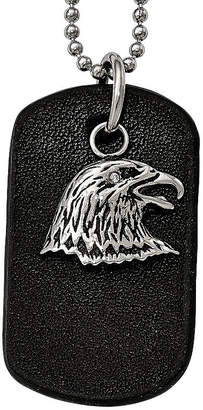 FINE JEWELRY Mens Stainless Steel Black Leather Eagle Dog Tag Pendant