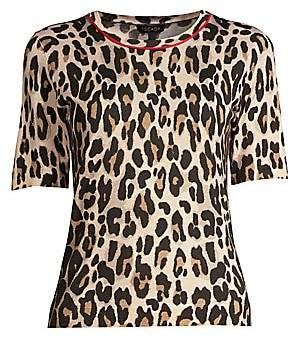 Escada Women's Sanimo Wool & Silk Leopard-Print Knit Shell Top