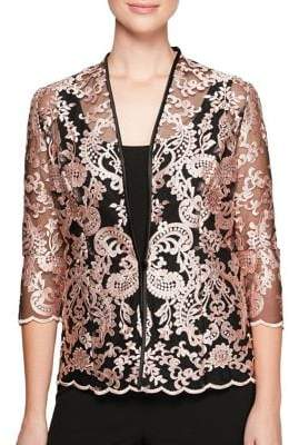 Alex Evenings Plus 2-in-1 Embroidered Quarter-Sleeve Jacket and Tank Top