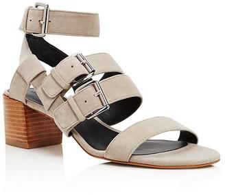 Rebecca Minkoff Ilana Buckle Mid Heel Sandals $150 thestylecure.com