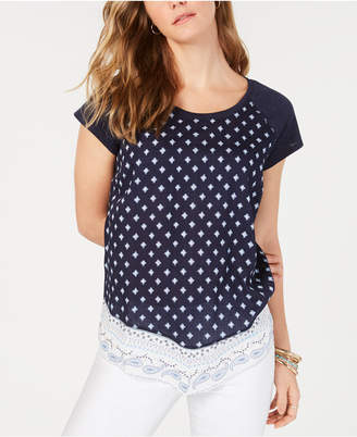 Style&Co. Style & Co Mixed-Print Cap-Sleeve Top