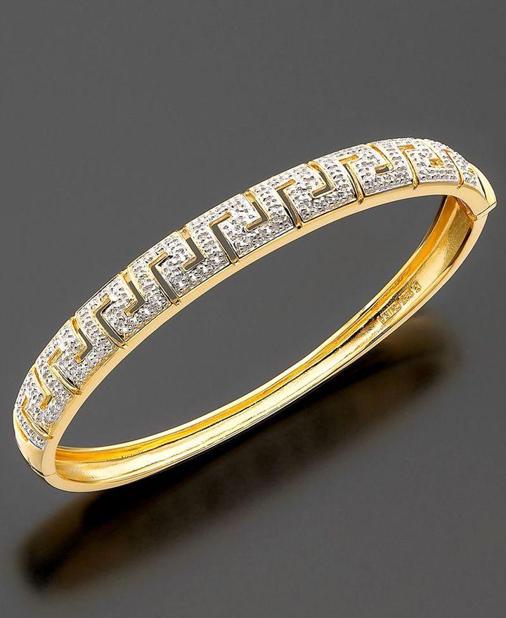 18k Gold over Sterling Bracelet, Diamond Accent Key Bangle