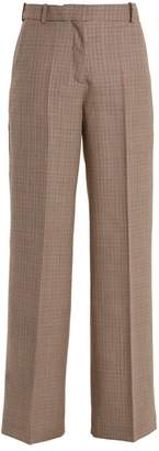 Racil - Cumberland Hound's Tooth Wide Leg Wool Trousers - Womens - Brown Multi