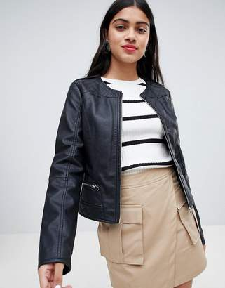 Pimkie Collarless Leather Look Biker Jacket