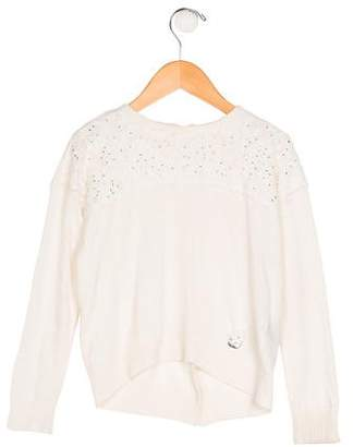 Miss Blumarine Girls' Knit Long Sleeve Sweater
