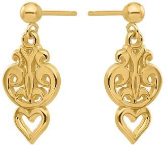 14K Swirl & Heart Cutout Dangle Post Earrings