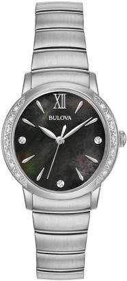 Bulova 28mm Stainless Steel Bracelet Watch with Diamonds