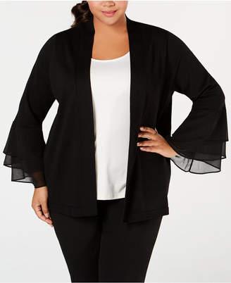 Calvin Klein Plus Size Chiffon-Ruffle Cardigan Sweater