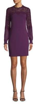 Kensie Long Sleeve Lace-Trimmed Shift Dress