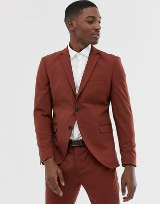 Selected suit jacket in paprika red