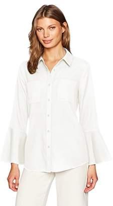 Calvin Klein Women's Button Front Bell Sleeve Blouse