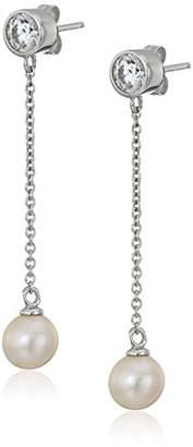 Swarovski Platinum-Plated Sterling Zirconia Freshwater Cultured Pearl Dangle Earrings