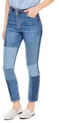 Sandro Hani Straight Patchwork Jeans