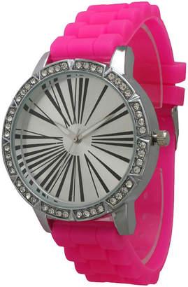 OLIVIA PRATT Olivia Pratt Womens Rhinestone Bezel Roman Numeral Dial Hot Pink Silicon Watch 20369Hot Pink