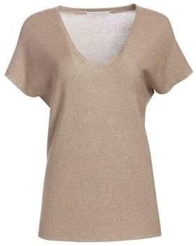Fabiana Filippi Women's V-Neck Short Sleeve Lurex Relaxed Knit Top - Dark Beige - Size 40 (4)