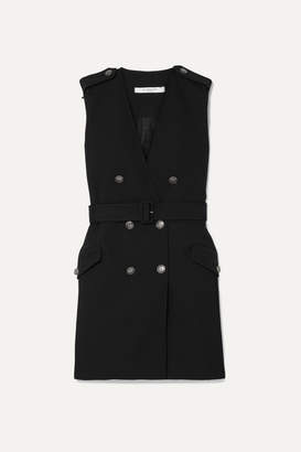 Givenchy Belted Double-breasted Grain De Poudre Wool Mini Dress - Black