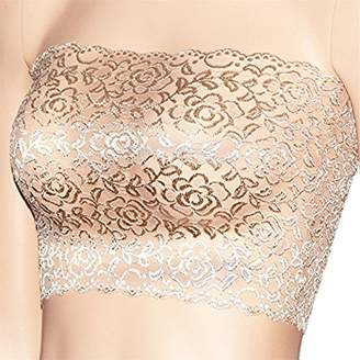 c60cba1a39 CENG MAU Women s Plus Size Floral Lace Unlined Stretchy Strapless Bandeau  Tube Tops See Through Bras