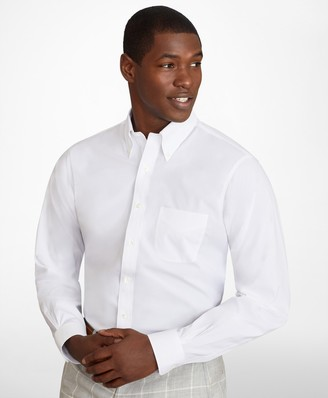 Brooks Brothers Regent Fitted Dress Shirt, Performance Non-Iron with COOLMAX, Button-Down Collar Broadcloth