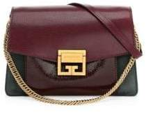 Givenchy Small GV3 Crackle& Suede Aubergine Shoulder Bag