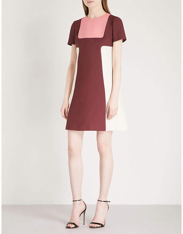 Colourblock wool and silk dress