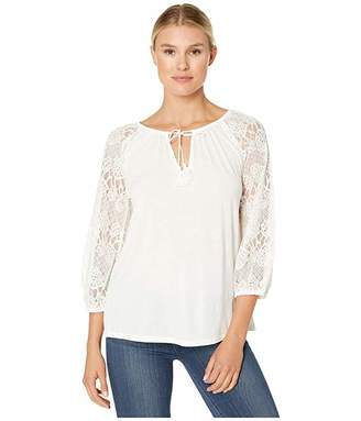 Wrangler Western Tee with Lace Sleeves and Tie Front