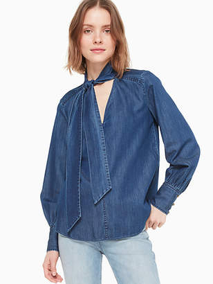Kate Spade Tie-neck denim top