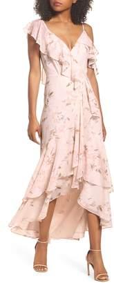 WAYF Elanor Ruffle Faux Wrap Maxi Dress