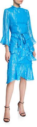 Saloni Marissa Metallic Ruffle 3/4-Sleeve Dress