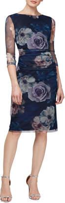Ignite Mesh Floral-Print Cocktail Dress