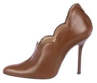 Oscar de la Renta Scalloped Leather Booties