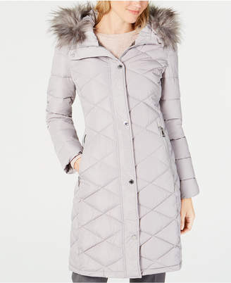 Calvin Klein Faux-Fur-Trim Hooded Quilted Puffer Coat