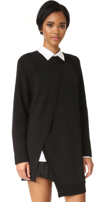 DKNY Crew Neck Rib Tunic with Combo Panel $498 thestylecure.com