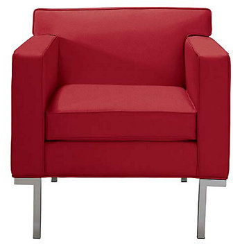 Theatre Armchair and Ottoman in Ultrasuede