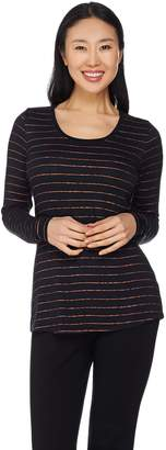 Lisa Rinna Collection Long Sleeve Foil Printed Knit Top