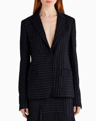 Jason Wu Pinstripe Stretch Crepe Jacket, Black/White